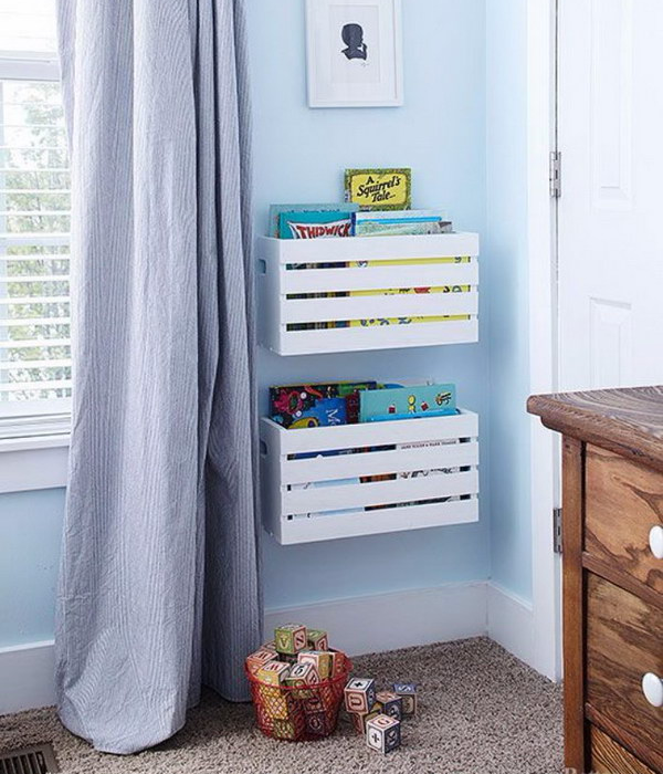 nursery book wall storage