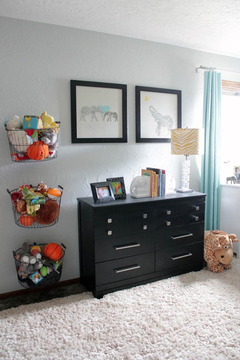 toy storage bins on wall