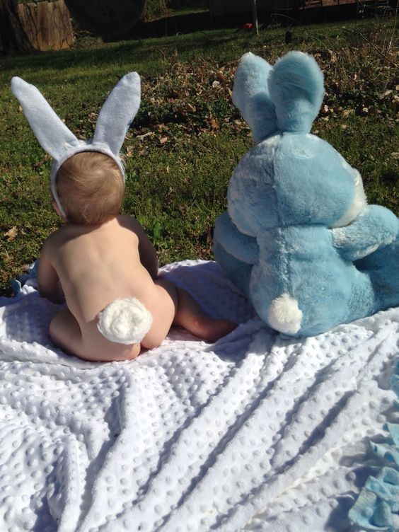 baby bottom with bunny tail