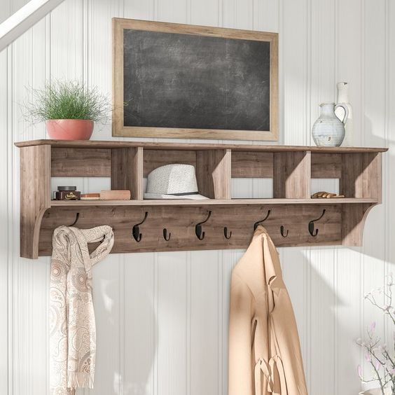 farmhouse wall shelf for loose clothes and hats