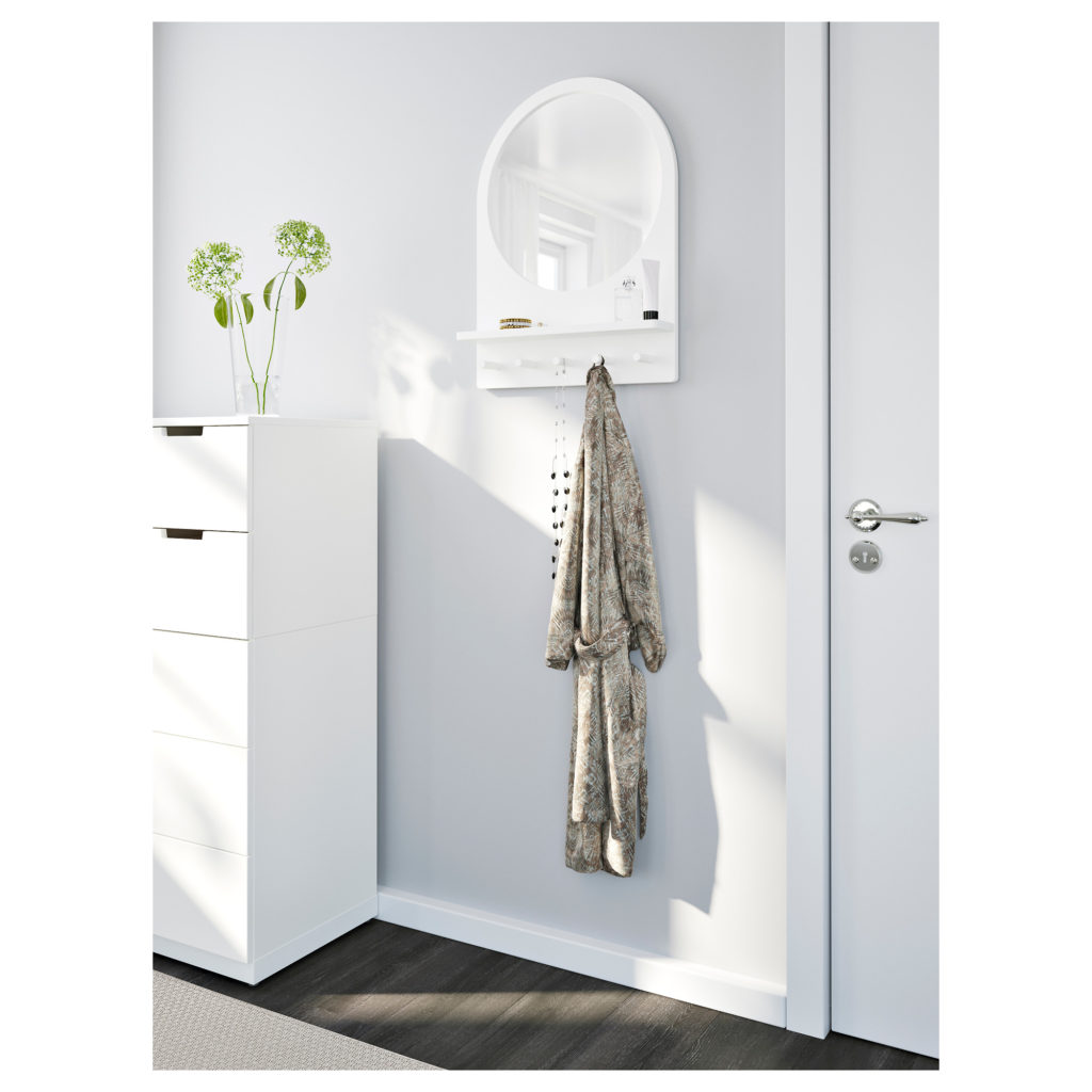 mirror with hooks to hang up robes and clothes you throw on floor