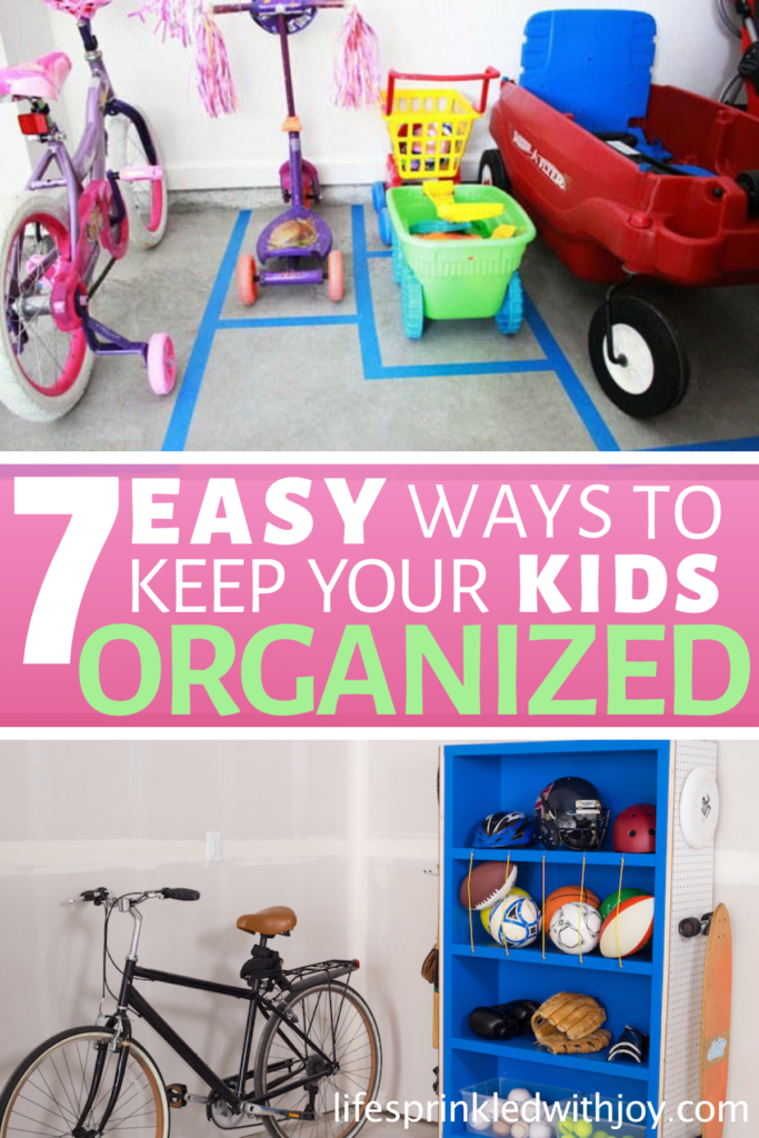 Keep your kids organized and teach them to put up after themselves with these amazing ideas! Check out these super easy tips to avoid toy clutter and all the kid stuff and FINALLY have an organized home you can ENJOY! #kidstoys #toystorage #toystorageideas #garageorganization #garage #garageorganizationideas #kidsbikes #sportinggoods #diy #homeorganization #organizing #decluttering