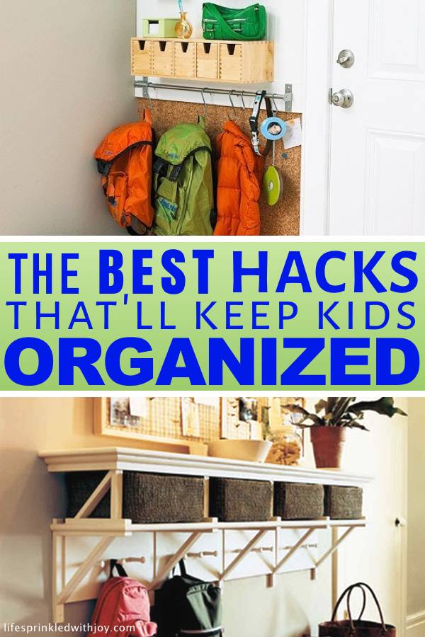 Keep your kids organized and teach them to put up after themselves with these amazing ideas! Check out these super easy tips to avoid toy clutter and all the kid stuff and FINALLY have an organized home you can ENJOY! #backpackstorage #backpacks #kids #schoolwork #entryway #organized #organization #organizing #organizingideas #home #homeorganization #hooks #baskets #cleaning #decluttering
