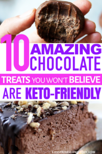 these chocolate treats are so good even if you aren't doing keto - definitely saving these for later! #ketodiet #ketosis #ketorecipes #ketodesserts #chocolate #dessertrecipes #ketogenic #ketogenicdesserts #dieting #losingweight #healthyliving
